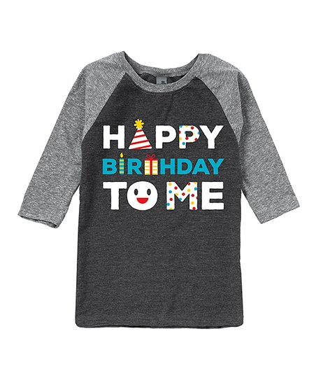 Charcoal Athletic Heather Happy Birthday To Me Raglan Tee