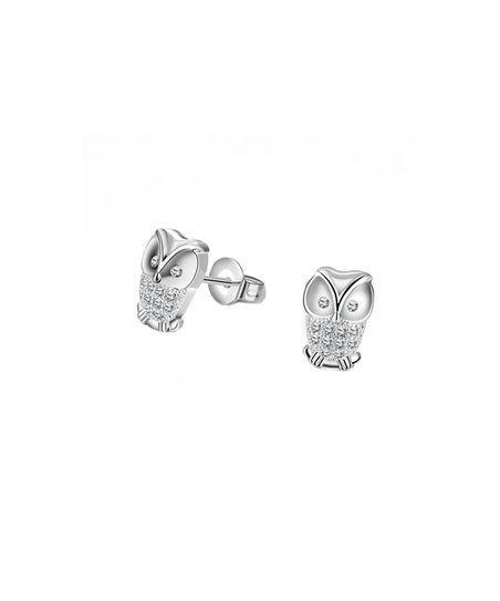 Sterling Silver Owl Stud Earrings With Swarovski Crystals