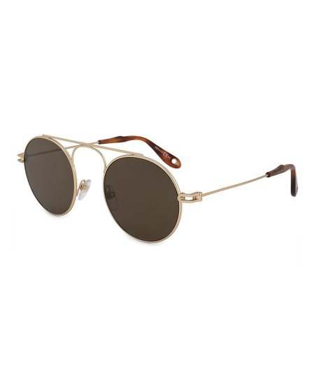 c29f80c933a47 Givenchy Brown   Gold Round Modified Aviator Sunglasses