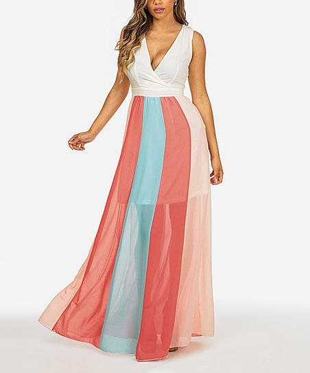 f3a15ac7313 love this product White   Pink Stripe-Accent Maxi Dress