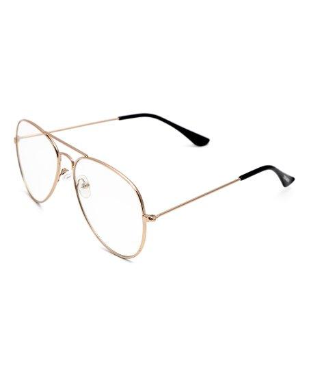 d4eee628f38c2 Steve Madden Gold   Clear Aviator Sunglasses