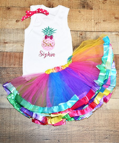 8fe82a250 love this product White Personalized Pineapple Tank & Rainbow Tutu - Infant,  Toddler & Girls