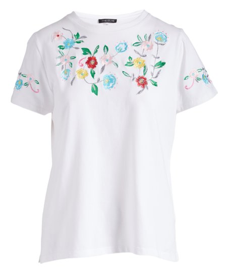 f90b8b6f0473c love this product White Floral Crewneck Tee - Women