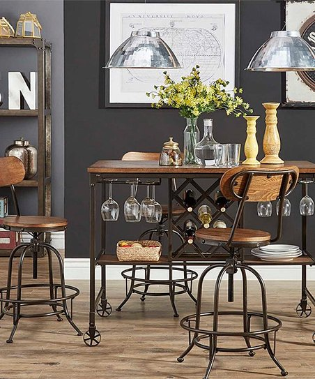 HomeBelle Brown   Black Five-Piece Dining Table Set  620922602d