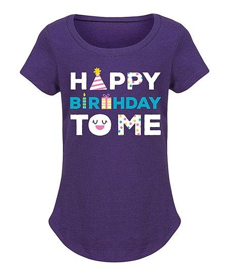 Purple Happy Birthday To Me Curved Hem Tee