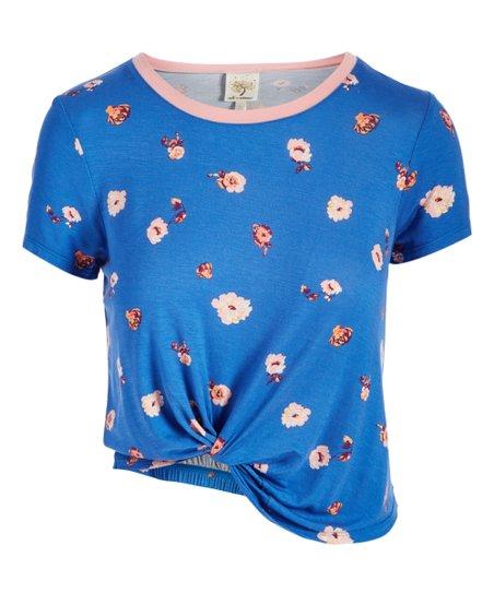 35e98d8862fe self esteem clothing Blue   Blush Floral Knot-Front Top - Juniors ...
