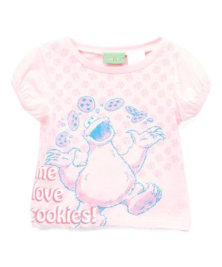 Children's Apparel Network Sesame Street Pink Cookie Monster 'Me Love  Cookies' Tee - Toddler