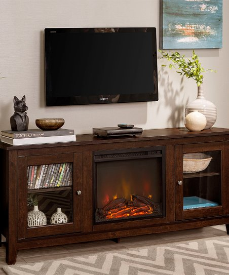 Walker Edison Traditional Brown Fireplace Tv Stand Zulily