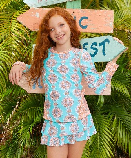 6330e9aae6 Cabana Life Blue & Orange Cabo Villa Rashguard Set | Zulily