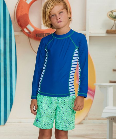 b3a18ee3bc77 love this product Blue   Green Side-Stripe Rashguard Set - Infant