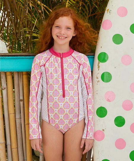 e8f4fb619a79e Cabana Life Pink Gold Coast One-Piece Rashguard - Girls | Zulily