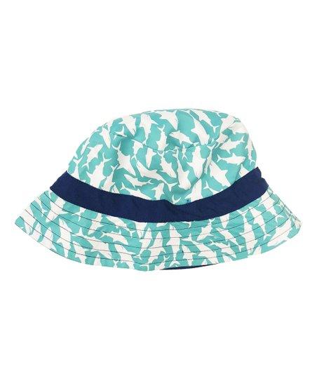 cd9e769e5842b8 Cabana Life Navy & Green Shark Reversible Bucket Hat | Zulily