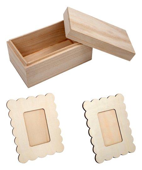 Lovelemon Craft Co Unfinished Wood Jewelry Box Frame Set Zulily