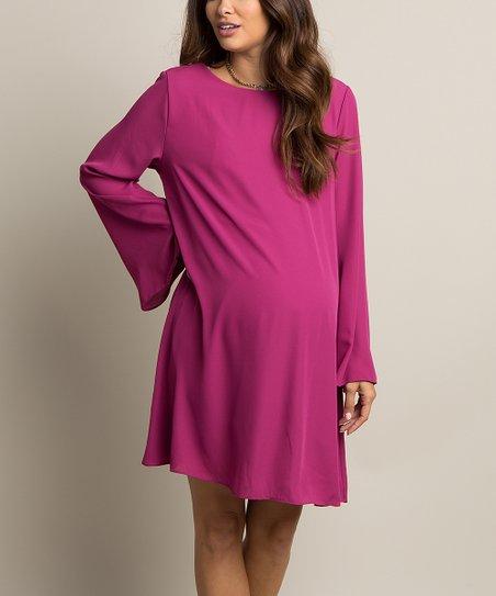 576e58f03b PinkBlush Maternity Magenta Chiffon Bell-Sleeve Maternity Dress