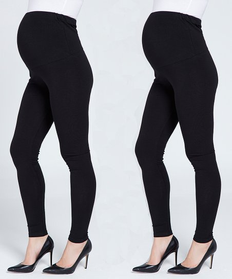 71974cd9d7e23 Myra Europe Black & Navy Maternity Leggings Set - Plus Too | Zulily