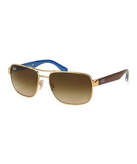 c4edbf842b love this product Gold   Brown Gradient Logo-Arm Square Sunglasses - Women