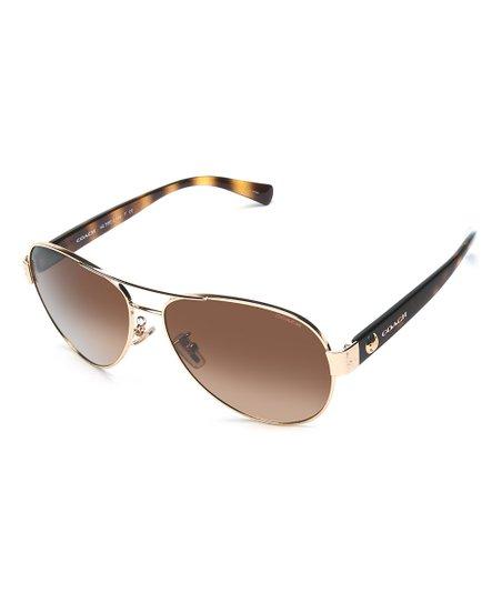43b90cb58e Coach Light Gold   Dark Tortoise Aviator Sunglasses