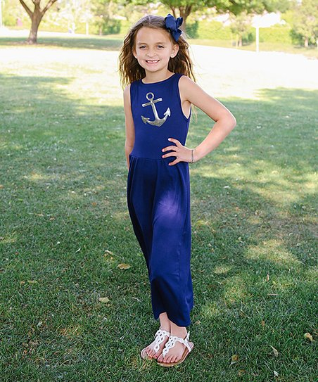 598a12b11 CopyCat Couture Navy   Silver Anchor Maxi Dress - Toddler   Girls ...