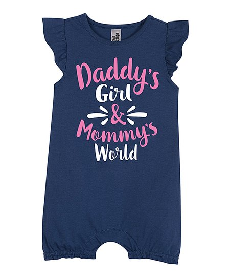 00225880c56 love this product Navy  Daddy s Girl   Mommy s World  Flutter-Sleeve Romper  - Newborn   Infant