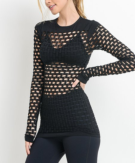 Mono B Activewear Black Fishnet Long-Sleeve Top - Women  0c41f1a4b