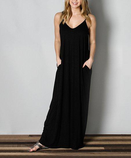 9b4c51ba00 Funky Monkey Black Side-Pocket Maxi Dress - Women