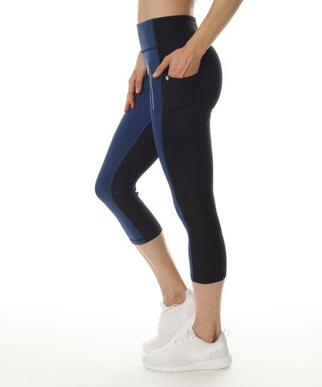 b3e1b244f92a3 X by Gottex Navy & Black Color Block Capri Leggings - Women | Zulily