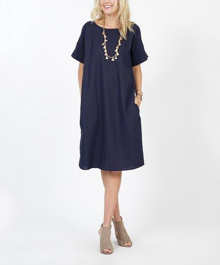 930123983cf love this product Navy Pocket Linen-Blend Shift Dress - Women