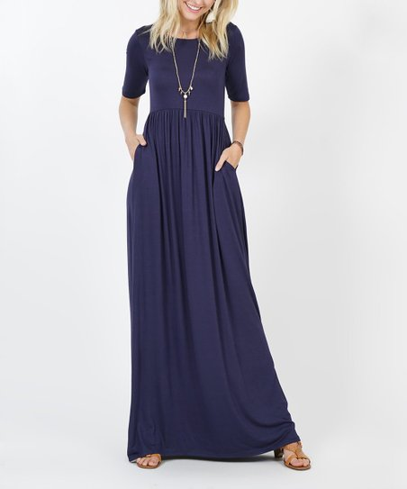 16c1582fc7 love this product Navy Pocket Half-Sleeve Empire-Waist Maxi Dress - Women &  Plus