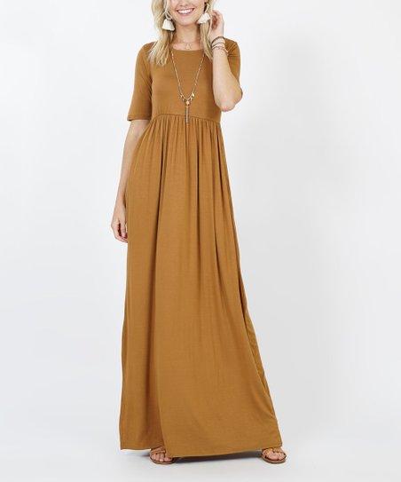 3daaee88eb23 Zenana Coffee Three-Quarter Sleeve Maxi Dress - Women