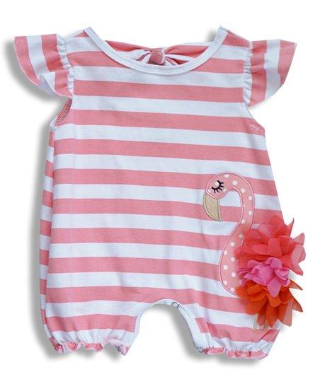 d38a7b6bab0c Honeydew Pink   White Stripe Flamingo Angel-Sleeve Bubble Romper ...