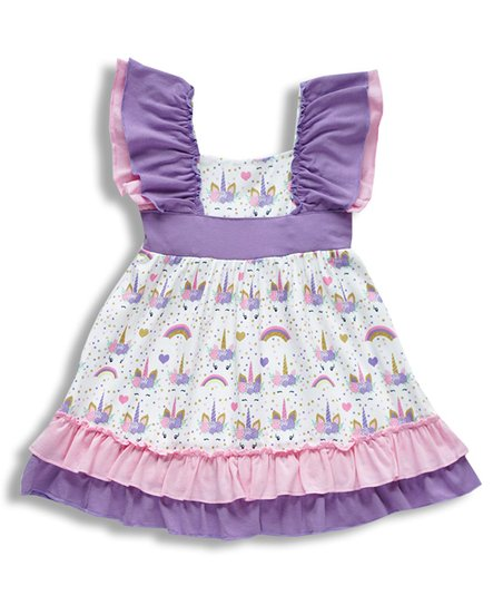 3f4a7cb974ee love this product Pink & Purple Unicorn A-Line Dress - Girls