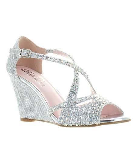 0f7ac4d007253 love this product Silver Rhinestone Wedge Sandal - Women
