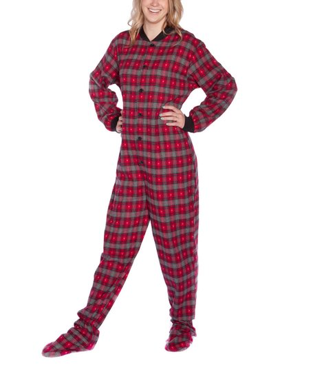 Big Feet Pjs Red Gray Plaid Flannel Footed Pajamas Women Zulily