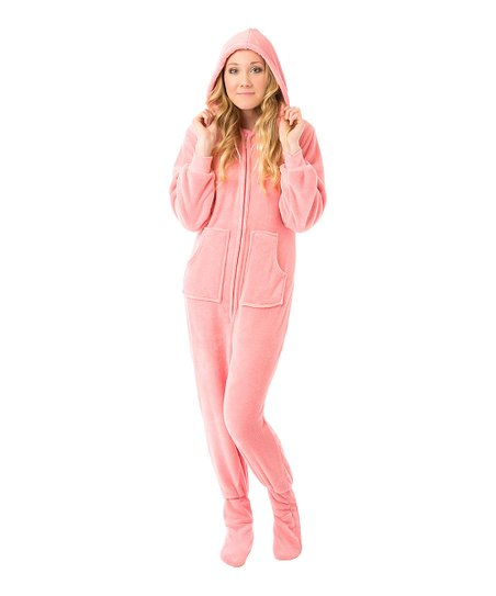 44cbeafefa love this product Pink Fleece Hooded Footed Pajamas - Adult