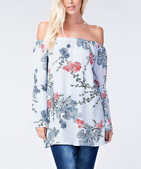 b4a668720a4d1 Shlitz Light Blue Floral Bell-Sleeve Off-Shoulder Top - Women   Plus ...