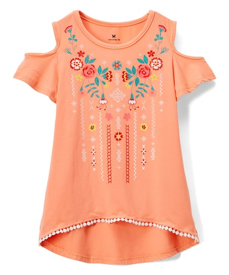 50abfbb3a39a7 One Step Up Coral Floral Shoulder-Cutout Top - Girls