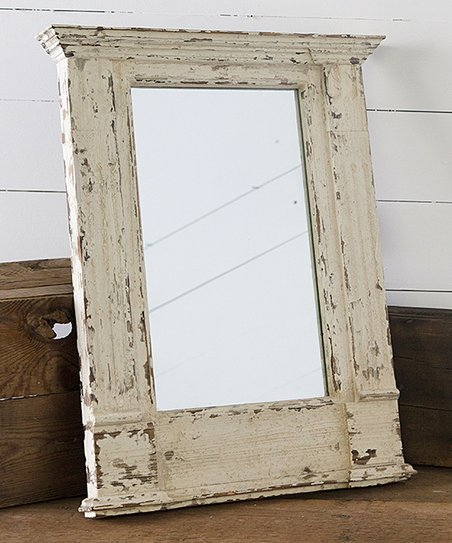 Distressed Wood Pillar Mirror
