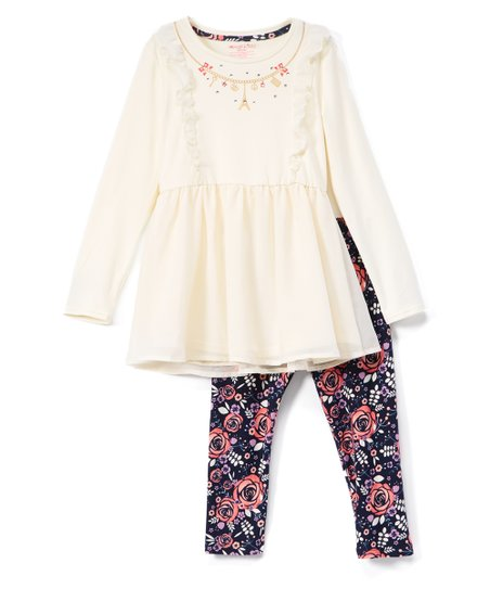 love this product White   Pink Floral-Embroidered Tunic   Leggings Set -  Infant
