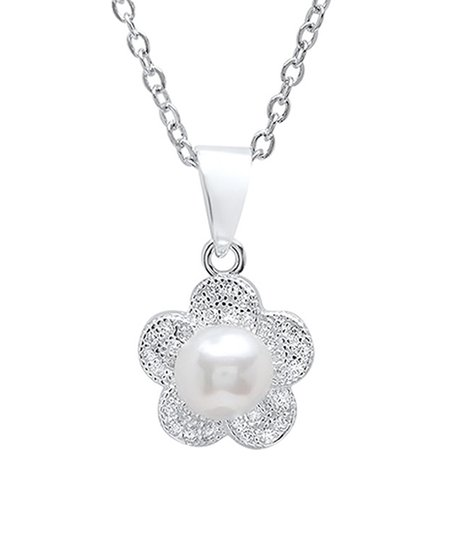 f00bbc77ab566e love this product Imitation Pearl   Sterling Silver Floral Pendant Necklace  With Swarovski® Crystals