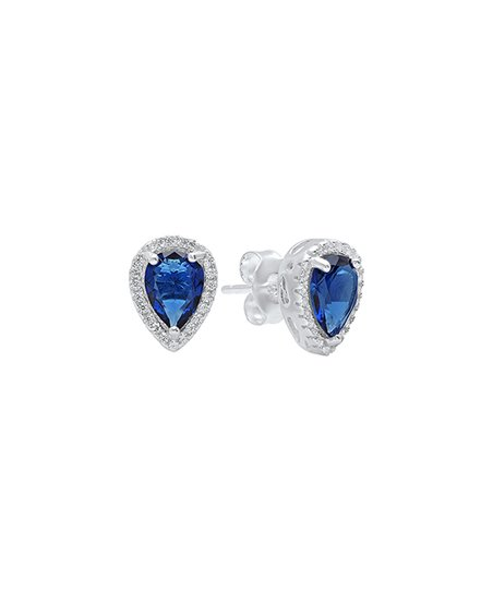 0c5a273813fd64 love this product Blue   Sterling Silver Halo Teardrop Stud Earrings With  Swarovski® Crystals