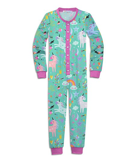 a4ee6a11ae96d love this product Turquoise   Pink Unicorn One-Piece Pajamas - Toddler    Girls