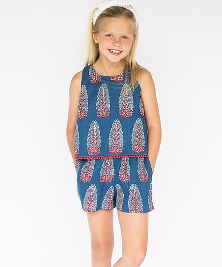 ac906dede63 Love this product navy blue red geometric keyhole back romper toddler girls  jpg 452x543 Girls navy