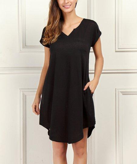 Rb Black Notch Neck Scoop Hem Dress Women Plus Zulily