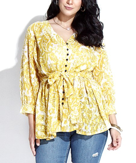 f4f4b1ee love this product Yellow Floral Textured Chiffon Button-Down Tie-Waist Tunic  - Plus