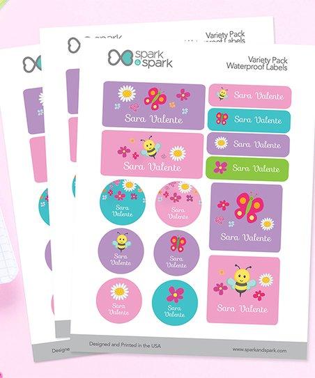 Spark Spark Spring Flower Waterproof 56 Pc Personalized Sticker Set