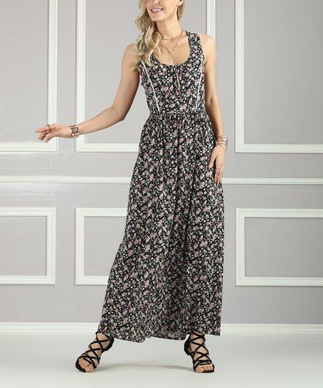30e6092cf17 Suzanne Betro Dresses Black   Pink Floral Lace-Back Maxi Dress