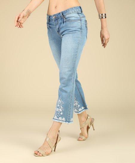44eb7f50ac1 love this product Medium Blue Light Wash Embroidered Flare-Hem Crop Denim  Jeans - Plus