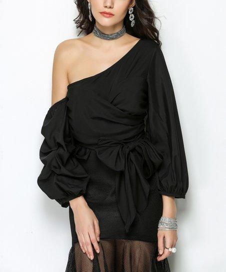 1c36f144b7 Sipaya Black Gathered-Sleeve Tie Asymmetrical Top - Women