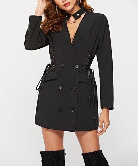 Sipaya Black Double Breasted Blazer Dress Women Zulily
