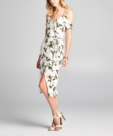 559da1b37e love this product White Floral Shoulder-Cutout Wrap Dress - Women